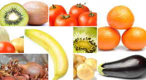 Fruit and vegetables collage Royalty Free Stock Image