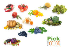 Fruit and vegetables color rainbow. Royalty Free Stock Photos