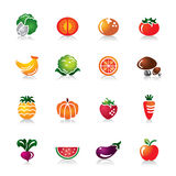 Fruit and Vegetables Colorful Icons Royalty Free Stock Image