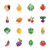 Fruit and Vegetables Colorful Icons Stock Photography