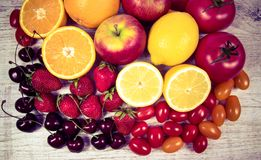Healthy food - food products with a high content of vitamin c. Royalty Free Stock Photography
