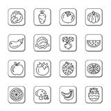 Fruit and Vegetables Doodle Icons Royalty Free Stock Image