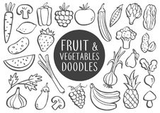 Fruit And Vegetables Doodles royalty free illustration