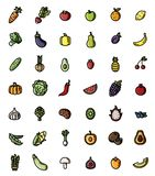 Fruit and vegetables flat design vector colorful icon set. Collection of isolated fruits and veggies symbols vector illustration