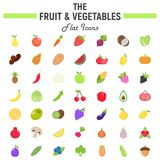 Fruit and Vegetables flat icon set, food symbols. Collection, vegetarian vector sketches, logo illustrations, colorful solid pictograms package isolated on Stock Photography