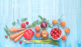 Fruit and vegetables, flat lay, good copy space. Stock Photos