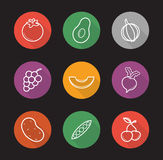Fruit and vegetables flat linear long shadow icons set Royalty Free Stock Images
