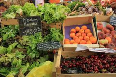 Fruit and vegetables at French market Stock Images