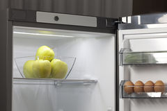 Fruit and vegetables in the fridge. Fresh fruit and vegetables in the fridge Stock Images