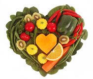 Fruit and Vegetables in a heart shape. Isolated Stock Image