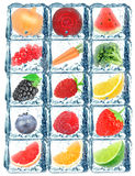 Fruit vegetables in the ice cube Royalty Free Stock Photos
