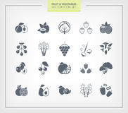 Fruit and Vegetables icon set. Black silhouettes. Stock Photos