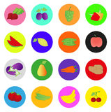 Fruit and Vegetables icon. Set. Vector illustration Royalty Free Stock Photography