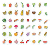 Fruit and Vegetables icon set. vector illustration Royalty Free Stock Photo