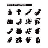 Fruit and Vegetables icon set Stock Image