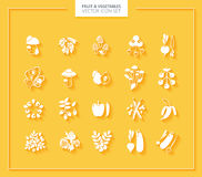 Fruit and Vegetables icon set. White silhouettes. Stock Photos