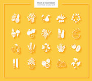 Fruit and Vegetables icon set. White silhouettes. Stock Photo