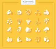 Fruit and Vegetables icon set. White silhouettes. Royalty Free Stock Photo