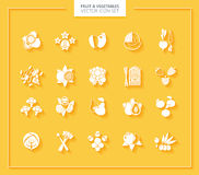 Fruit and Vegetables icon set. White silhouettes. Royalty Free Stock Photos