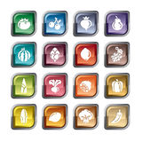Fruit and Vegetables Icons. A collection of different kinds of fruit and vegetables icons. It contains hi-res JPG, PDF and Illustrator 9 files Stock Image
