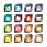 Fruit and Vegetables Icons. A collection of different kinds of fruit and vegetables icons. It contains hi-res JPG, PDF and Illustrator 9 files Stock Photography