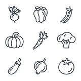 Fruit and vegetables icons linear style Stock Photos