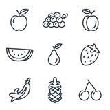 Fruit and vegetables icons linear style Stock Photography