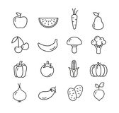 Fruit And Vegetables Icons Set Royalty Free Stock Photos