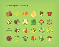 Fruit and vegetables icons set. Flat vector illustration. Fruit and vegetables icons set. Flat vector illustration Stock Photos