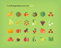 Fruit and vegetables icons set. Flat vector illustration. Fruit and vegetables icons set. Flat vector illustration Royalty Free Stock Photography