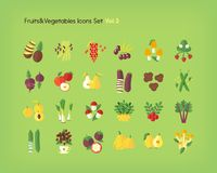 Fruit and vegetables icons set. Flat vector illustration. Fruit and vegetables icons set. Flat vector illustration Royalty Free Stock Photos