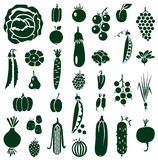 Fruit and vegetables icons on white Royalty Free Stock Images