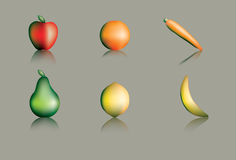 Fruit and Vegetables. Illustrations of fruit and vegetables on a shiny surface Stock Images