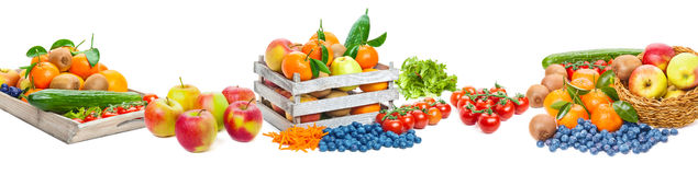Fruit and vegetables, isolated Stock Photo