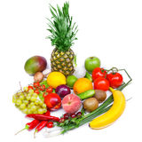Fruit and vegetables isolated white background Stock Photo