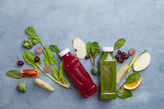 Fruit and vegetables juice in bottle Royalty Free Stock Images