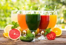 Fruit and vegetables juices Stock Photo