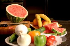 Fruit and vegetables in a kitchen Royalty Free Stock Photo