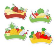 Fruit and vegetables labels Stock Photography