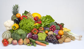 Fruit and vegetables. On a light grey background Stock Image
