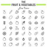 Fruit and Vegetables line icon set, food symbols royalty free illustration