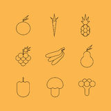 Fruit and vegetables line icons Royalty Free Stock Photos