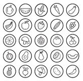 Fruit and vegetables linear icons set Royalty Free Stock Photography