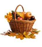 Fruit and vegetables, lying in basket, isolated Royalty Free Stock Image