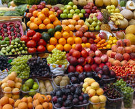 Fruit and vegetables on a market royalty free stock images