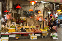 Fruit and vegetables market in old part in Hong Kong Stock Photo