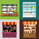 Fruit, vegetables, milk products, meat, bakery Stock Photos