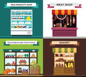 Fruit, vegetables, milk products, meat, bakery Stock Photography