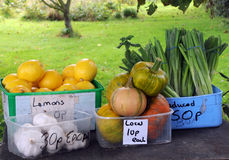 Fruit and vegetables for sale in Guernsey Royalty Free Stock Photos