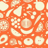 Fruit and vegetables seamless pattern Stock Photos